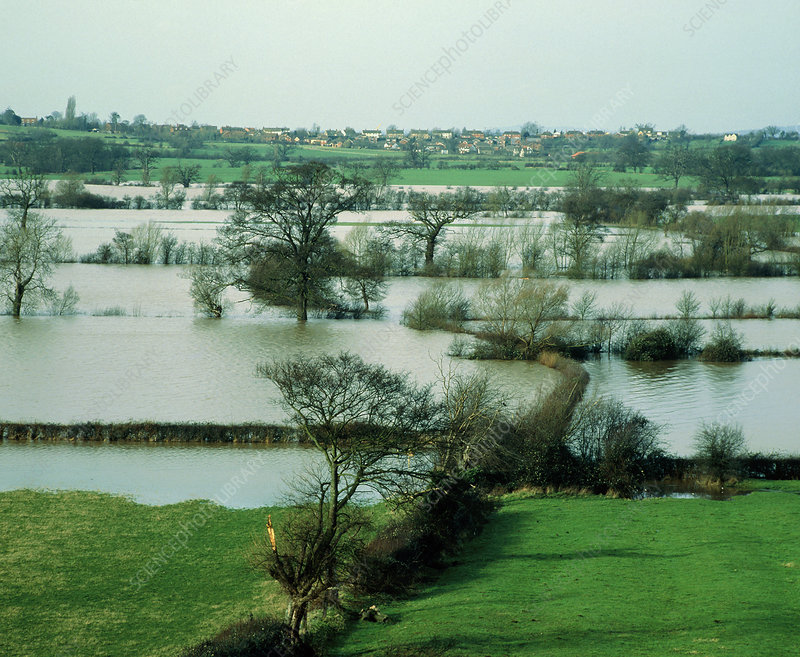Fields flooded by the river Severn