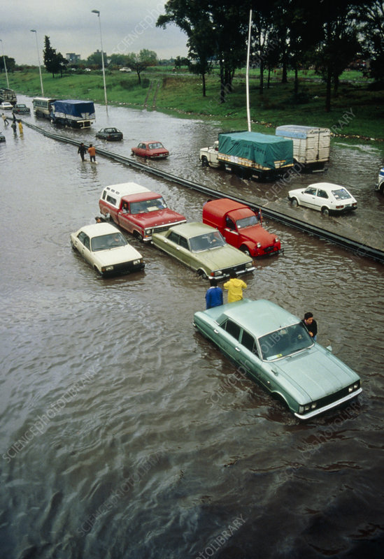 Flooded roads in Buenos Aires
