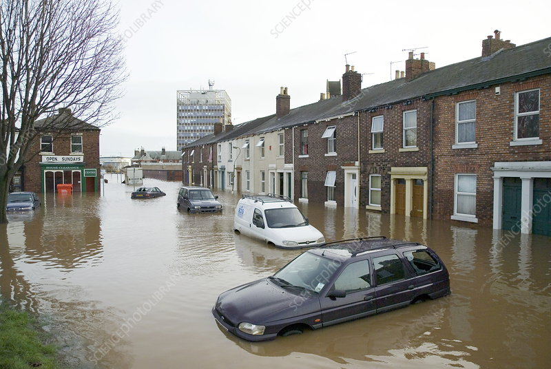 Flooded residential area, Carlisle