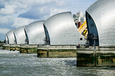 Thames flood barrier with gates closed