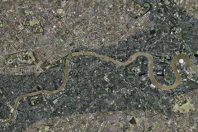 Flood risk in London, aerial view