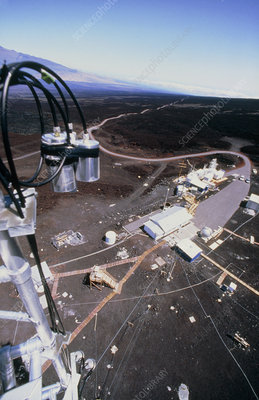 Aerial view of NOAA monitoring lab on Mauna Loa