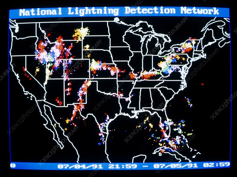 Screen display, national lightning detection netwk