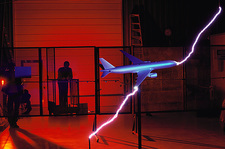 Lightning test on model Boeing 777 airliner