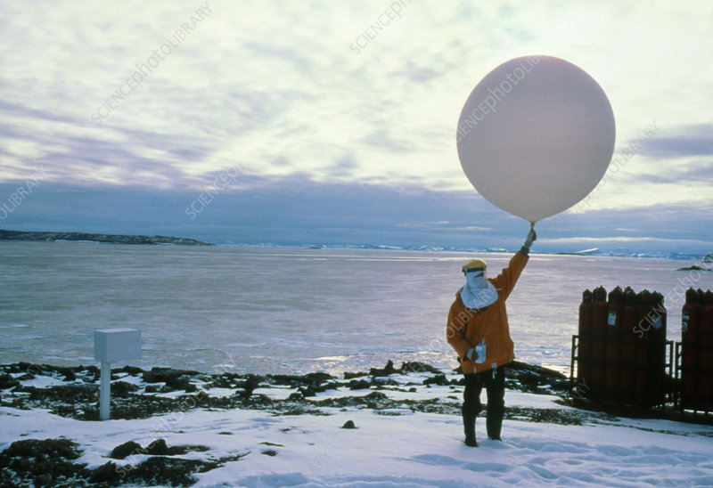 Launch of a weather balloon, Antarctica
