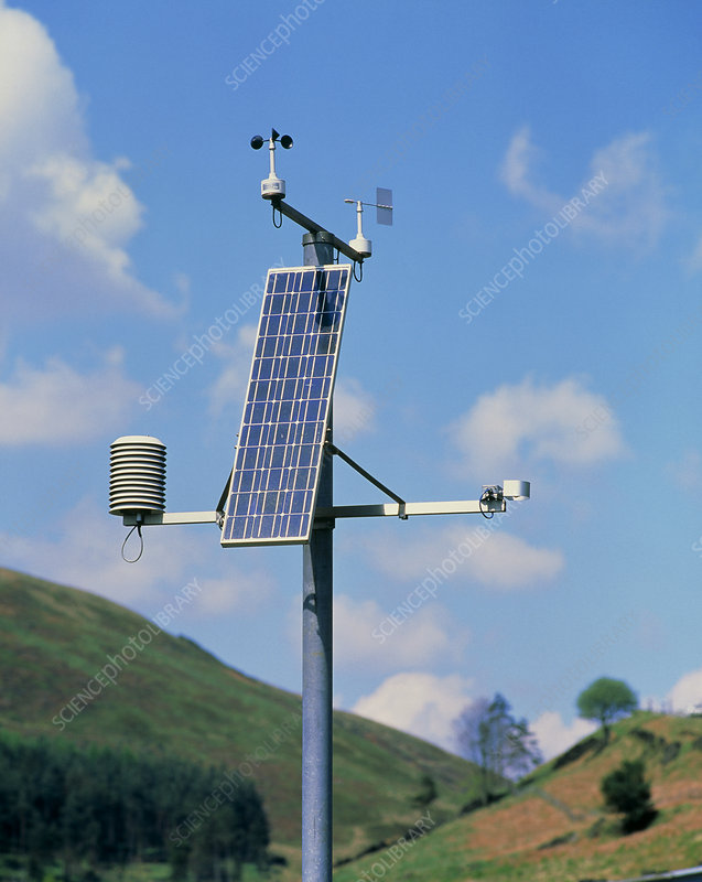 Solar powered weather station on moor, Derbyshire