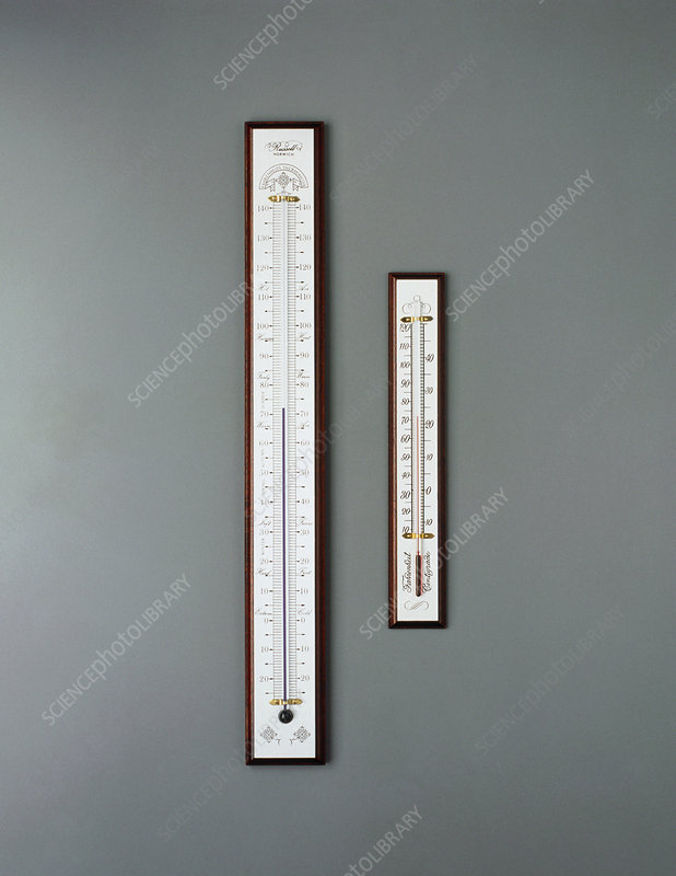 Two thermometers for measuring air temperature