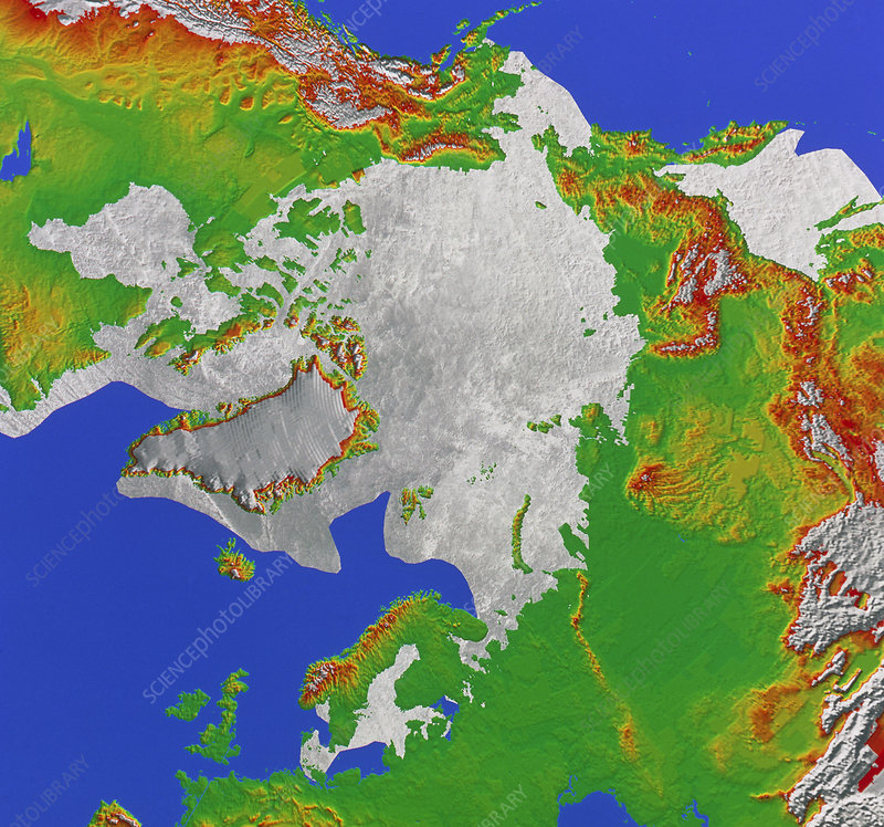 Map showing limit of Arctic ice pack
