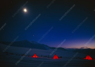 Moon lighting frozen landscape, Spitsbergen