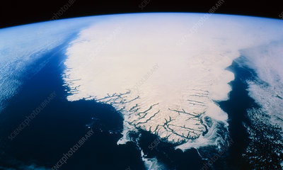 Shuttle view of south tip of Greenland