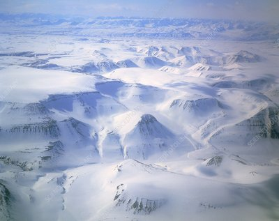 Aerial view of mountains in Greenland