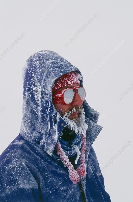 Explorer in Greenland with frosty face