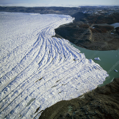 Aerial view of the edge of the Greenland ice sheet