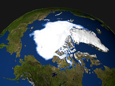 Arctic ice minimum extent, 2005