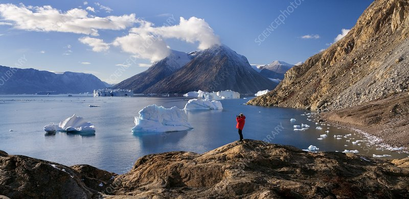 Tourist in Northwest Fjord, Greenland