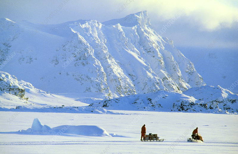 Skidoo and sledge transport, Antarctica