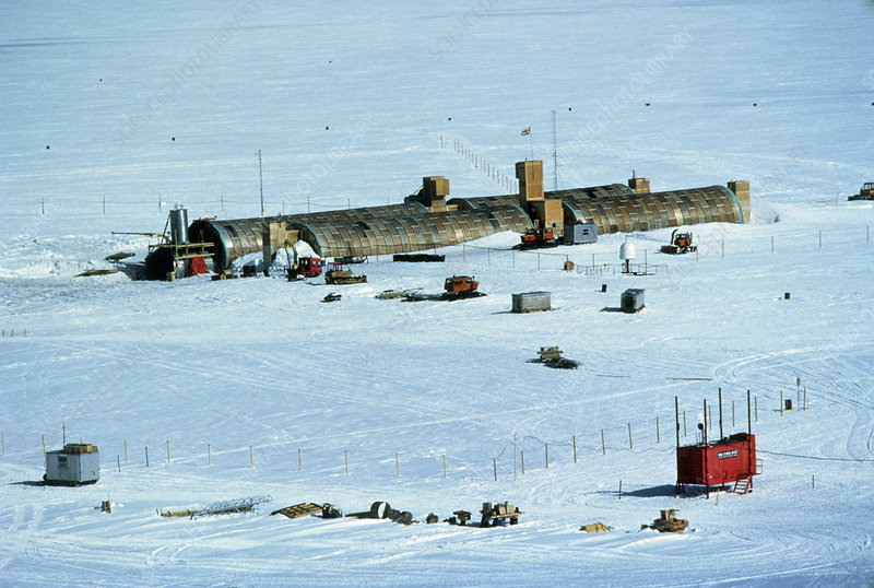 Aerial photo of Halley Station base, Antarctica
