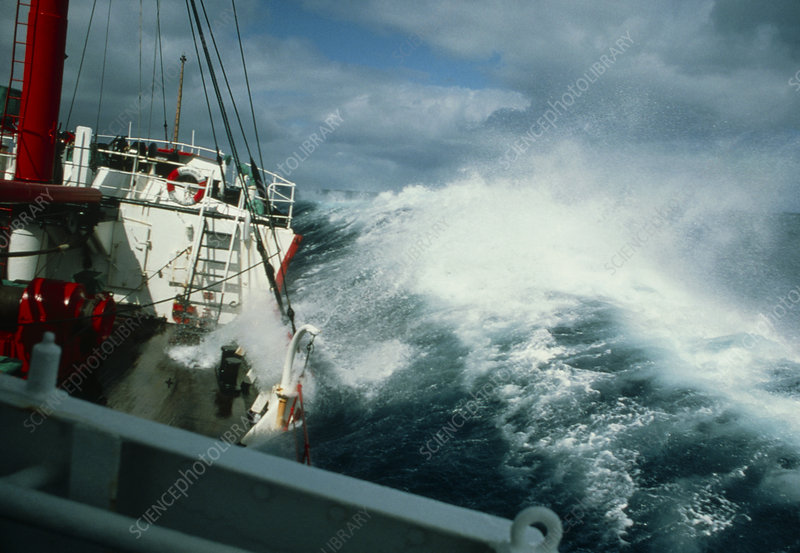 RRS John Biscoe in heavy seas, Drake's Passage