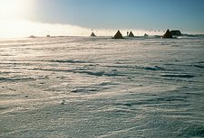 Midnight Sun over an Antarctic camp