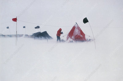 Field camp in Antarctica during a blizzard