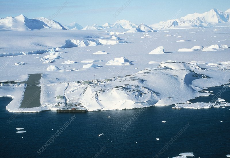 Aerial view of Rothera Station, Antarctica