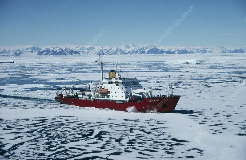 Icebreaker ship in Antarctica