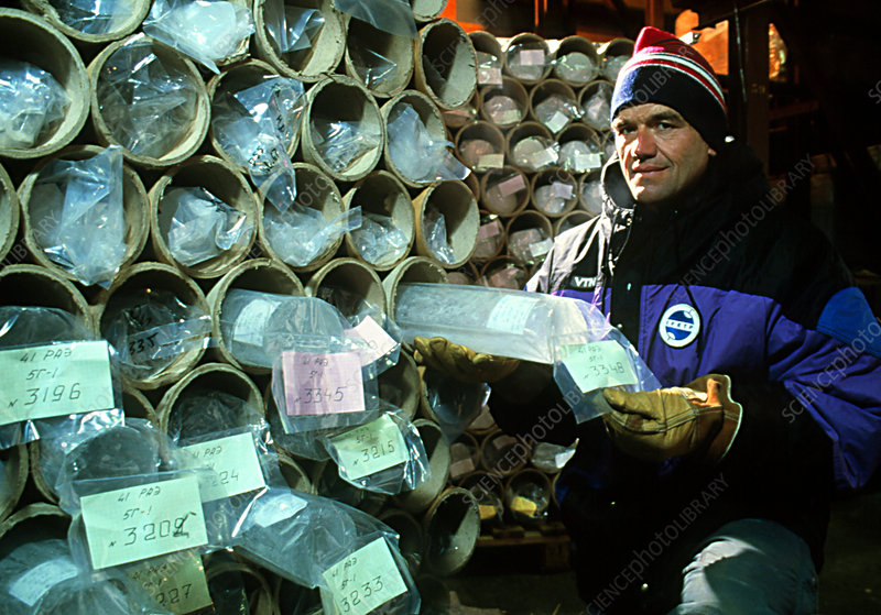 Glaciologist with Vostok ice cores in storage