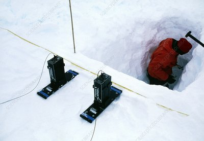 Scientist measures Antarctic ice depth with radar