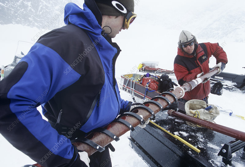 Glaciologists taking ice cores, Sweden
