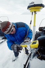 Preparing for GPS mapping of a glacier