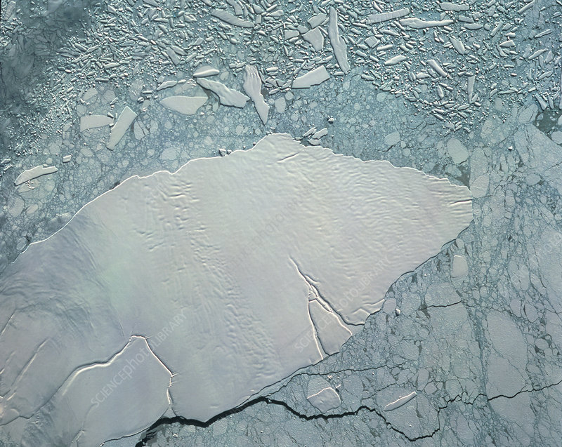 SPOT-3 satellite image of iceberg in Antarctica