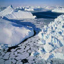 Icebergs and sea ice in Disco Bay, Greenland