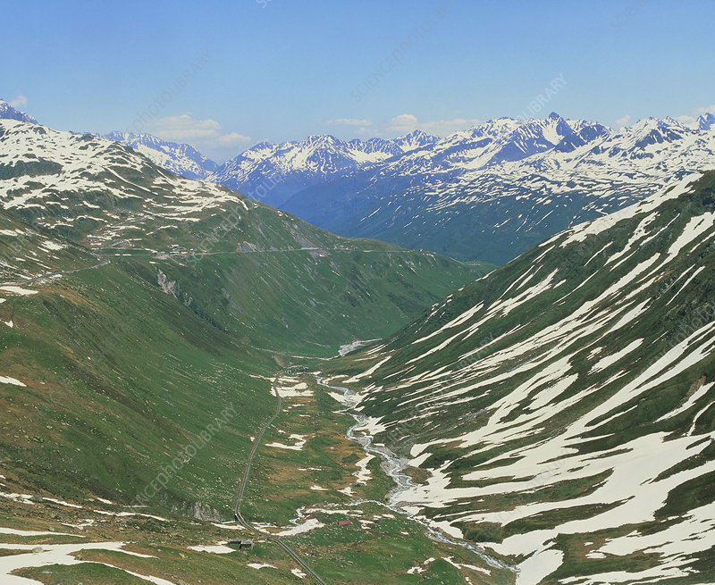 Garschen glaciated valley with Furkaruess river