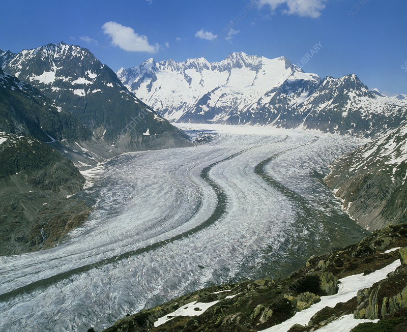 The Aletsch Glacier in the Swiss Alps