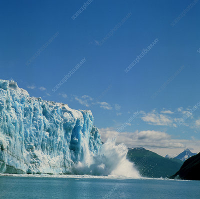 Hubbard glacier calving as it reaches the sea