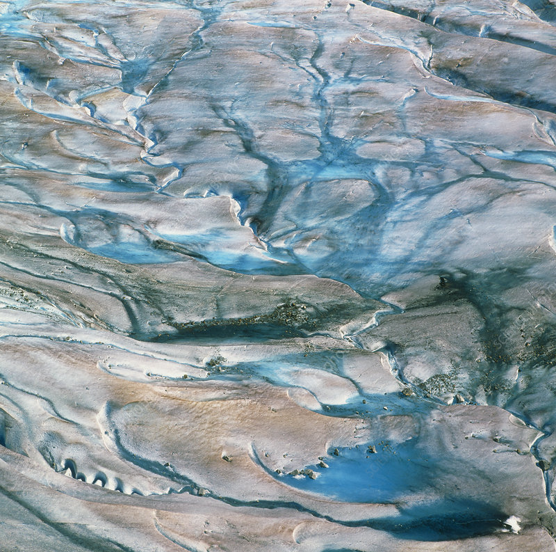 View of meltwater streams on a glacier