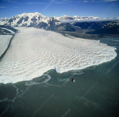 Aerial view of Hubbard glacier entering the sea