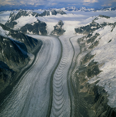 Ogives on the surface of Gilkey glacier, Alaska