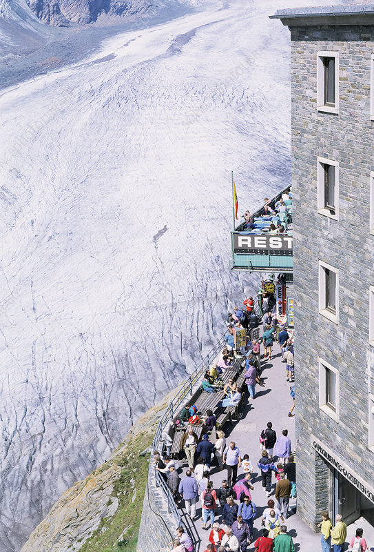 Tourists viewing a glacier