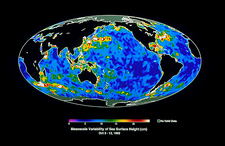 Satellite map of ocean currents