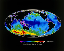 Satellite map of global wave heights