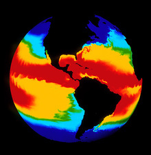 Computer simulation of global sea surface temp.