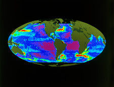 Geosat map of ocean currents of the world