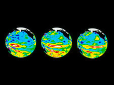 Earth graphics of sea height during El Nino, 1997