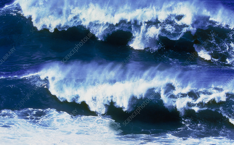 Ocean waves breaking