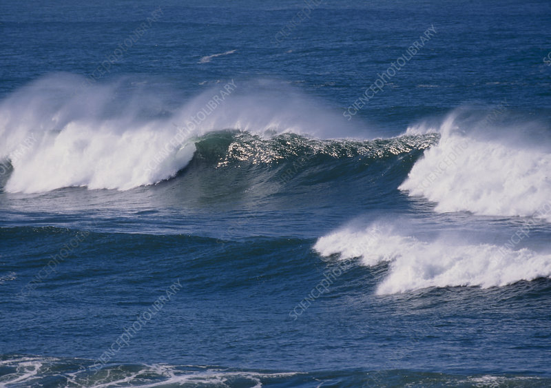 View of wind blown waves (combers) breaking