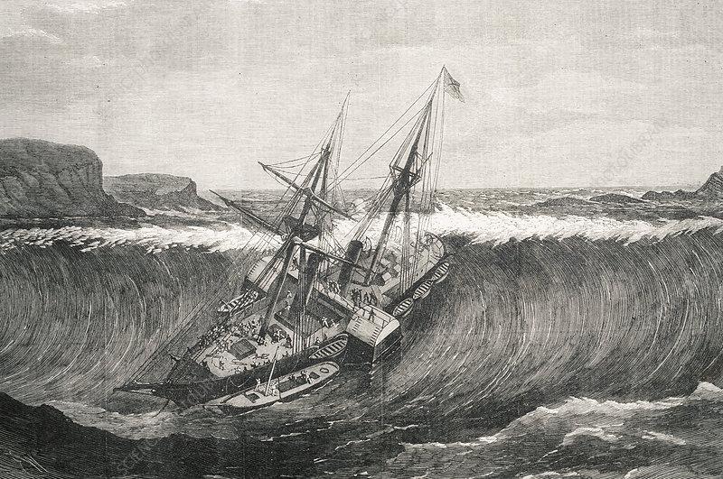 Tsunami and La Plata steamship - Stock Image E275/0013 ...