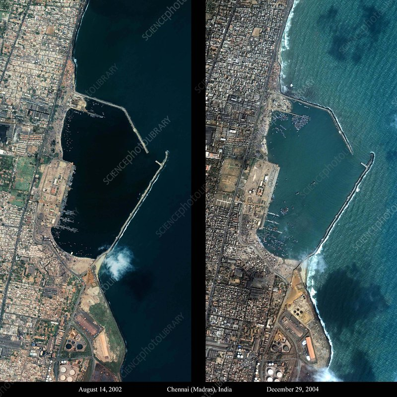 Indian coast before and after tsunami