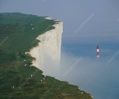 Sea mist swaddling the light house off Beachy head