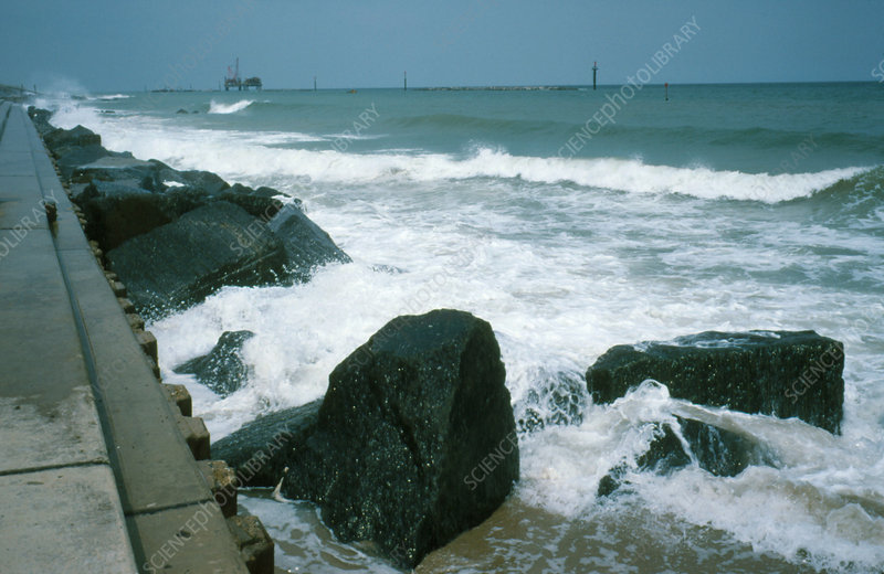 Sea defences (wall/boulders) at Sea Palling, UK